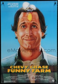 1569UF FUNNY FARM 1sh '88 smiling Chevy Chase with egg on his head by Steven Chorney!