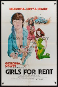 0939FF GIRLS FOR RENT 1sh '74 art of sexy bad girl Georgina Spelvin, delightful, dirty & deadly!