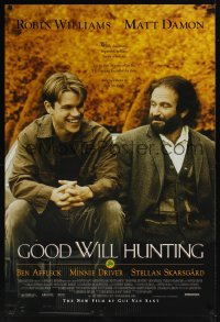 0171UF GOOD WILL HUNTING 1sh '97 great image of smiling Matt Damon & Robin Williams!