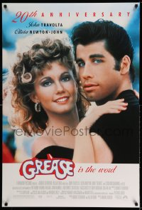 2140UF GREASE DS 1sh R98 John Travolta & Olivia Newton-John, classic musical 20th Anniversary!