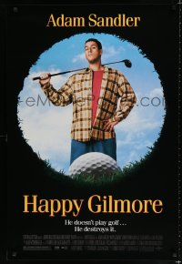 1574UF HAPPY GILMORE 1sh '96 great image of Adam Sandler, he doesn't play, he destroys golf!