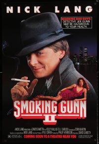 2152UF HARD WAY advance DS 1sh '91 Michael J. Fox as Nick Lang, Smoking Gunn II ghost poster!