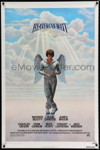1577UF HEAVEN CAN WAIT 1sh '78 Lettick art of angel Warren Beatty wearing sweats, football!