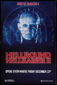 2159UF HELLBOUND: HELLRAISER II teaser 1sh '88 Clive Barker, great close up of Pinhead, he's back!