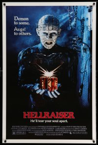 2160UF HELLRAISER 1sh '87 Clive Barker horror, great image of Pinhead, he'll tear your soul apart!