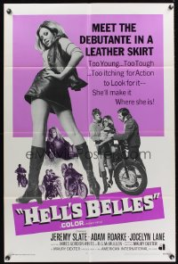 0946FF HELL'S BELLES int'l 1sh '69 sexy too young too tough biker babe in leather skirt!