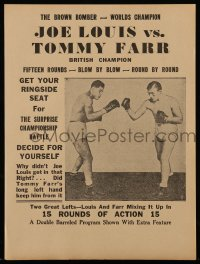 2458 JOE LOUIS VS TOMMY FARR herald '37 The Brown Bomber boxing vs the British champion!