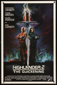 1221UF HIGHLANDER 2 1sh '91 great artwork of immortals Christopher Lambert & Sean Connery!