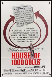 0957FF HOUSE OF 1000 DOLLS 1sh '67 Vincent Price, Martha Hyer, traffic in human flesh!