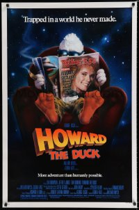 1578UF HOWARD THE DUCK 1sh '86 George Lucas, art of him reading magazine w/Lea Thompson on it!