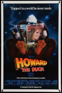 2174UF HOWARD THE DUCK advance 1sh '86 George Lucas, art of him reading magazine w/Lea Thompson!