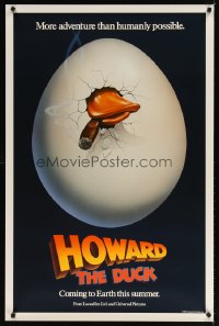 1579UF HOWARD THE DUCK teaser 1sh '86 George Lucas, great art of hatching egg with cigar in mouth!