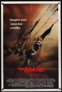 0961FF HOWLING 1sh '81 Joe Dante, cool image of screaming female attacked by werewolf!