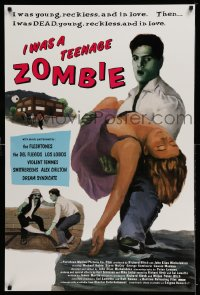 2180UF I WAS A TEENAGE ZOMBIE 1sh '87 wacky image, music by Los Lobos, Violent Femmes & Smithereens!