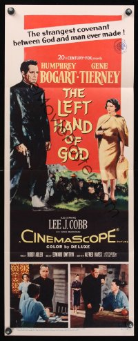 1106FF LEFT HAND OF GOD insert '55 art of priest Humphrey Bogart holding gun + sexy Gene Tierney!