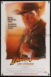 2188UF INDIANA JONES & THE LAST CRUSADE white advance 1sh '89 Drew Struzan art of Harrison Ford!