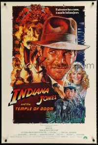 1585UF INDIANA JONES & THE TEMPLE OF DOOM 1sh '84 adventure is Ford's name, Drew Struzan art!
