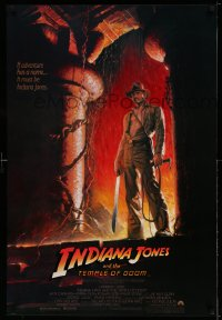 2189UF INDIANA JONES & THE TEMPLE OF DOOM 1sh '84 adventure is Ford's name, Bruce Wolfe art!