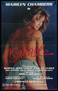 0968FF INSATIABLE 1sh '80 super sexy topless Marilyn Chambers in short shorts is Insatiable!
