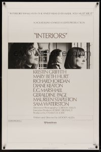0969UF INTERIORS style B 1sh '78 Woody Allen, image of Diane Keaton, Mary Beth Hurt,Kristin Griffith