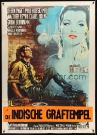 1174FF INDIAN TOMB Italian 1p '61 Fritz Lang's Das indische Grabmal, cool art by Luigi Martinati!