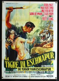 0839FF TIGER OF ESCHNAPUR Italian 1p '59 Fritz Lang, art of sexy Debra Paget by Martinati!