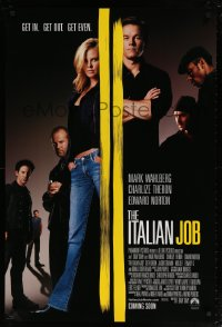 2197UF ITALIAN JOB int'l advance DS 1sh '03 Mark Wahlberg, sexy full-length Charlize Theron!