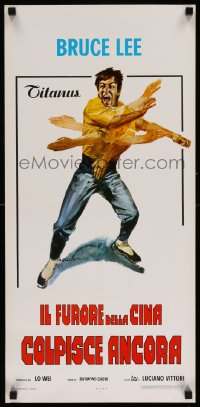 2502UF FISTS OF FURY Italian locandina '73 great Bruce Lee action kung fu art by Ciriello!