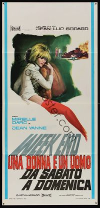 1171FF WEEK END Italian locandina '68 Jean-Luc Godard, different art of sexy Mireille Darc!