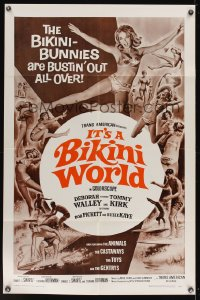 0970FF IT'S A BIKINI WORLD 1sh '67 Tommy Kirk, Deborah Walley, cool art of surfers & sexy girls!