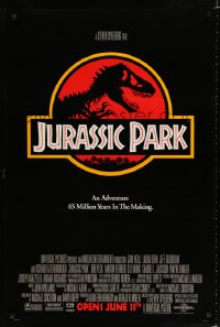 1590UF JURASSIC PARK advance 1sh '93 Steven Spielberg, Richard Attenborough re-creates dinosaurs!
