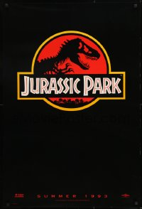 2663UF JURASSIC PARK teaser 1sh 1993 Steven Spielberg, classic logo with T-Rex over red background
