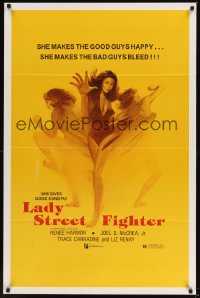 0246TF LADY STREET FIGHTER 1sh '85 she makes the good guys happy & she makes the bad guys bleed!