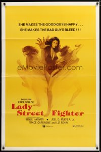 1432TF LADY STREET FIGHTER 1sh '85 she makes the good guys happy & she makes the bad guys bleed!
