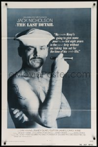 2226FF LAST DETAIL style A 1sh '73 Hal Ashby, c/u of foul-mouthed Navy sailor Jack Nicholson w/cigar