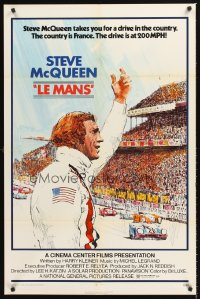 1222FF LE MANS 1sh '71 artwork of race car driver Steve McQueen waving at fans!