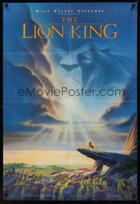 0986FF LION KING DS 1sh '94 classic Disney cartoon set in Africa, cool image of Mufasa in sky!