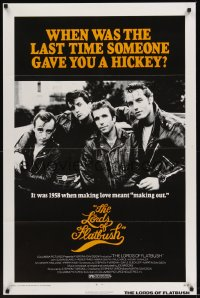 0259TF LORDS OF FLATBUSH 1sh R77 cool portrait of Fonzie, Rocky, & Perry as greasers in leather!