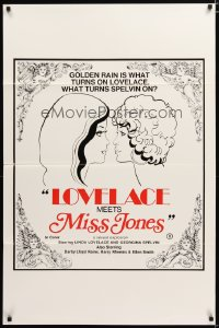 1436TF LOVELACE MEETS MISS JONES 1sh '75 art of Linda Lovelace & Georgina Spelvin!