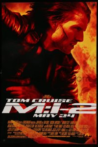 2264UF MISSION IMPOSSIBLE 2 advance DS 1sh '00 super c/u of Tom Cruise, sequel directed by John Woo!