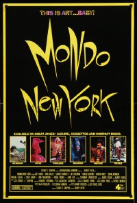 2269UF MONDO NEW YORK 1sh '88 Harvey Keith, this is art baby, cool yellow title and border design!
