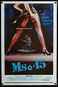 733UF MS. .45 one-sheet '81 Abel Ferrara cult classic, great artwork of sexy girl's legs with gun!