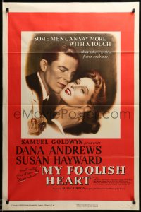 2275TF MY FOOLISH HEART 1sh '50 close up of Susan Hayward & Dana Andrews, written by J.D. Salinger!