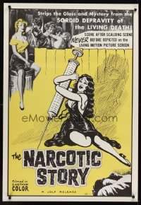 1225UF NARCOTIC STORY 1sh '58 great drug needle image, sordid depravity of the living death!