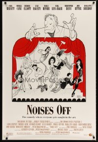 1603UF NOISES OFF DS 1sh '92 great wacky Al Hirschfeld art of cast as puppets!