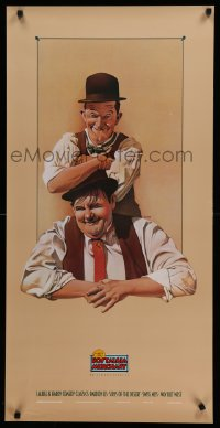 2447UF NOSTALGIA MERCHANT 20x40 video poster '85 Nelson art of Stan Laurel & Oliver Hardy!