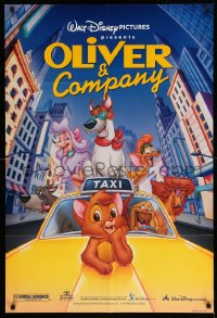 2294FF OLIVER & COMPANY DS 1sh R96 Disney cartoon cats & dogs in New York City!