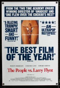 0742UF PEOPLE VS. LARRY FLYNT DS reviews 1sh '96 Woody Harrelson as the founder of Hustler Magazine!