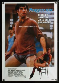 0744FF PERFECT Span/US 1sh '85 great different image of John Travolta working out, Jamie Lee Curtis