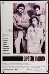 1607UF PRETTY IN PINK 1sh '86 great portrait of Molly Ringwald, Andrew McCarthy & Jon Cryer!
